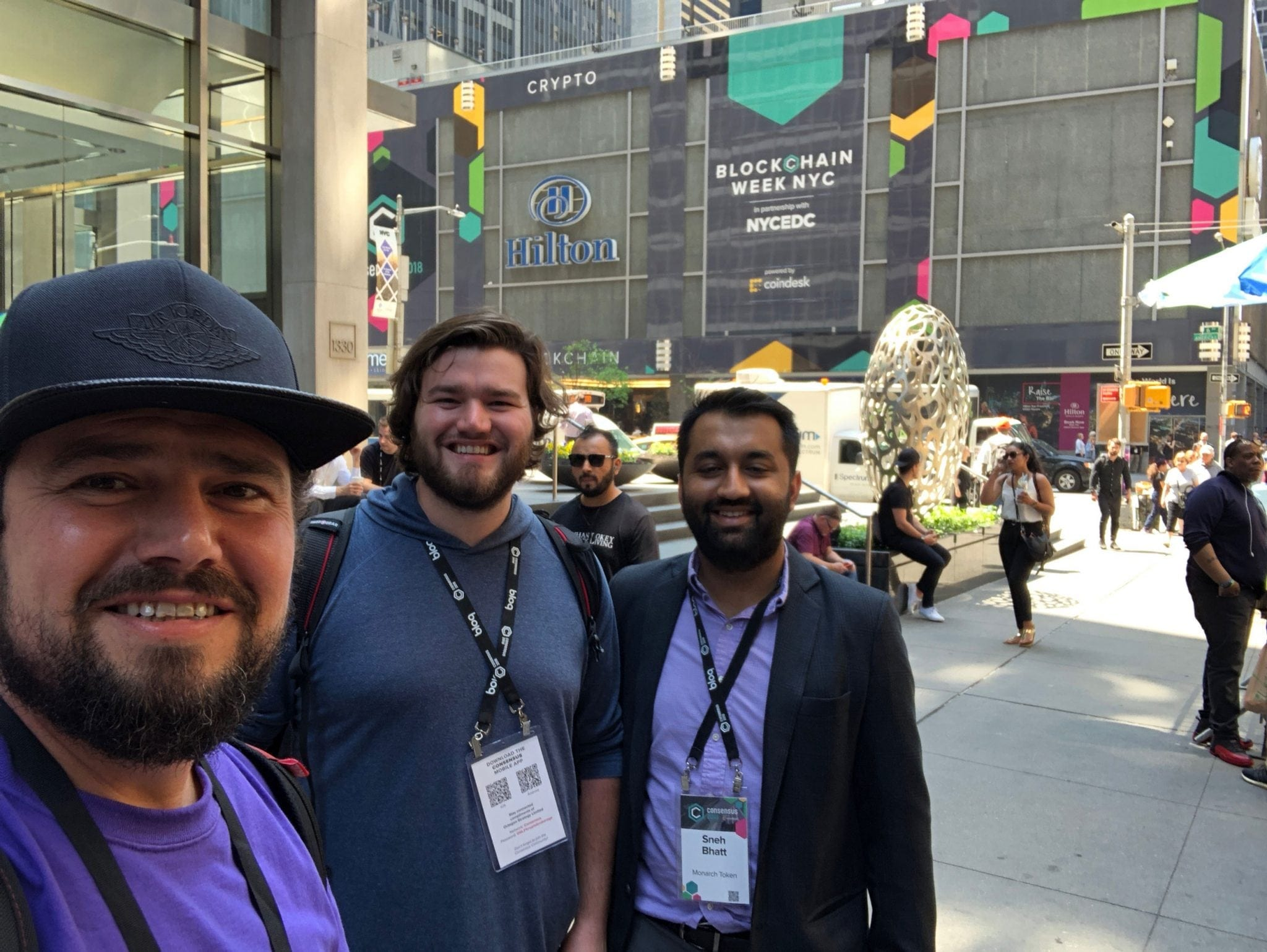 Monarch Team left to right, Robert Beadles, Aaron Beadles, Sneh Bhatt. Taken at Consensus 2018 in New York after securing several partnerships for Monarch.