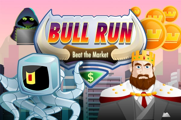 Bright Colored picture featuring king next to a quantum alien computer with a hacker in the background and monarch golden tokens floating around a logo with a skyscraper backdrop at sunset.