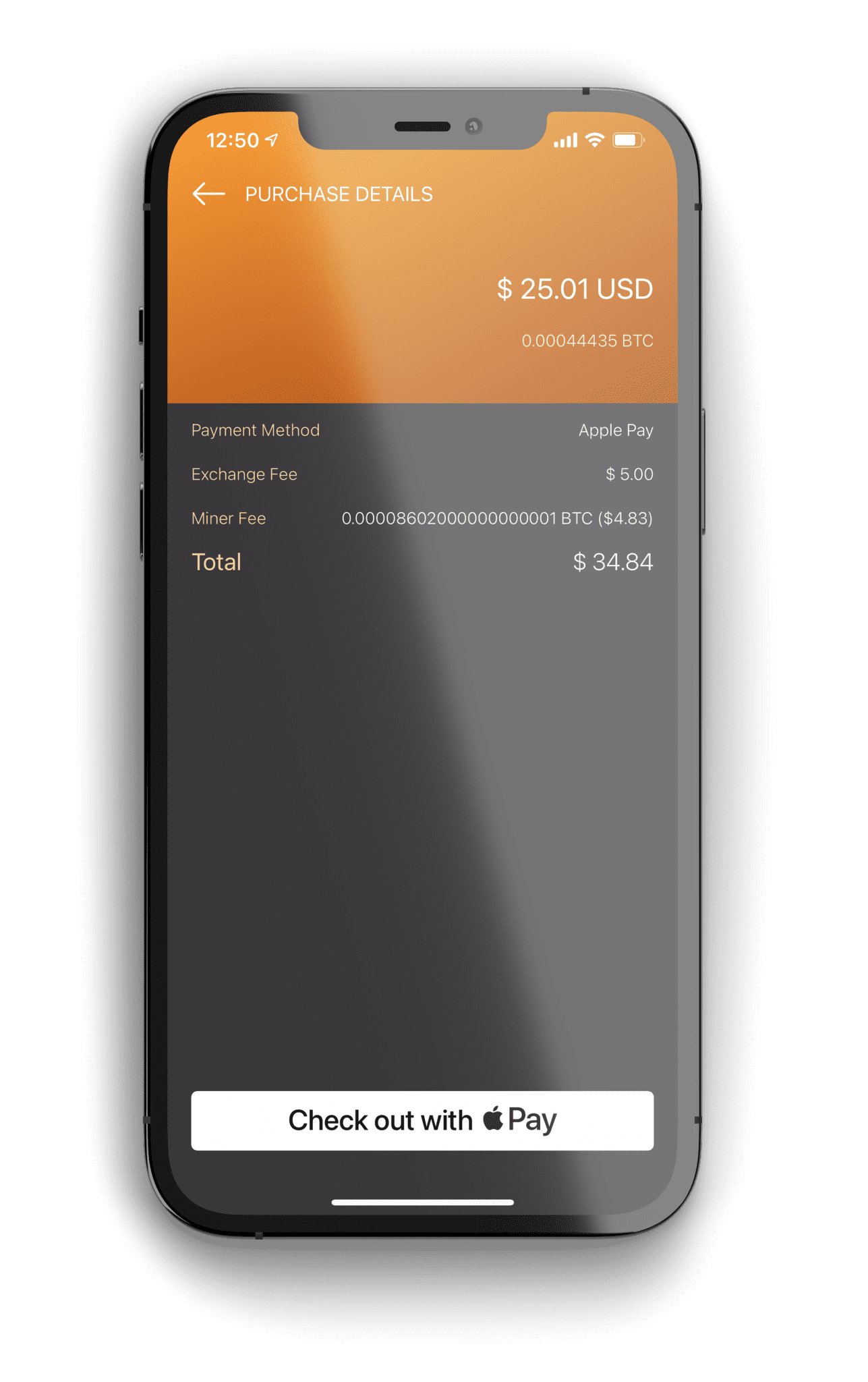 Monarch Wallet BTC Purchase with Apple Pay Screen