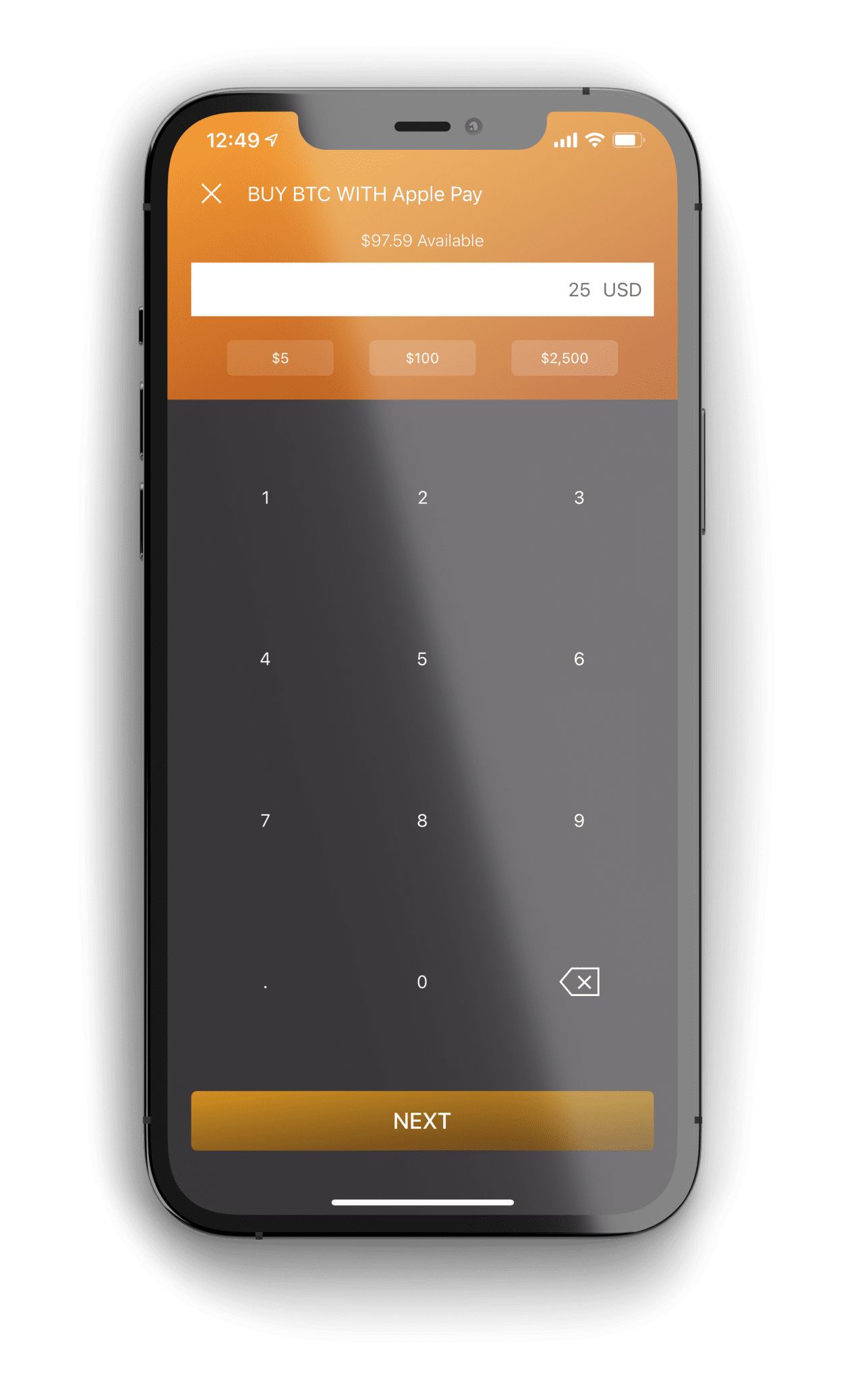 Monarch Wallet Purchase Amount Screen for Bitcoin