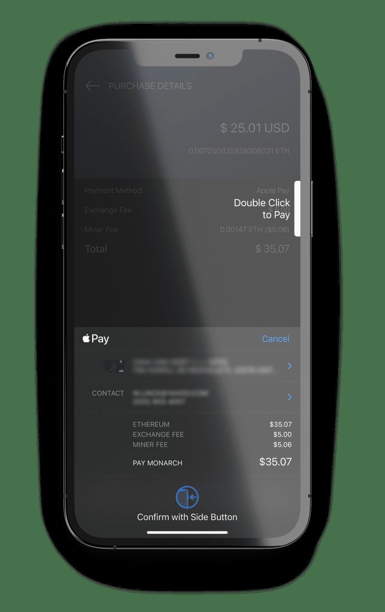 Monarch Wallet ETH Apple Pay Screen