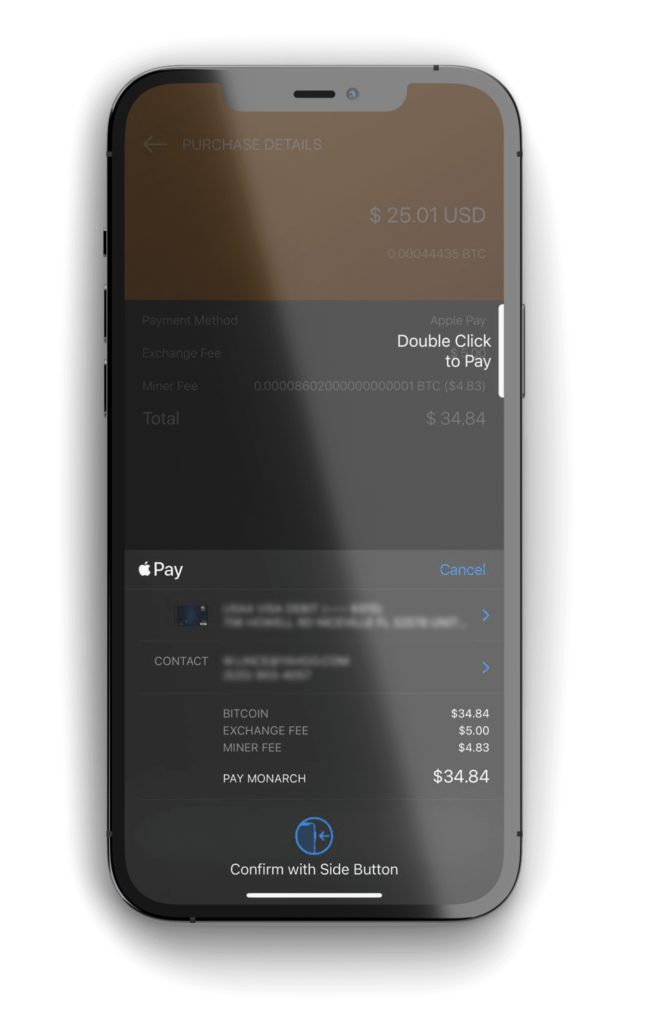Monarch Wallet BTC Apple Pay Purchase Image