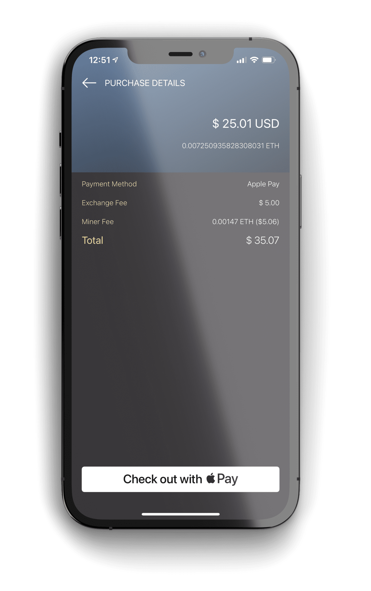 Apple Pay ETH Purchase Screen on Monarch Wallet