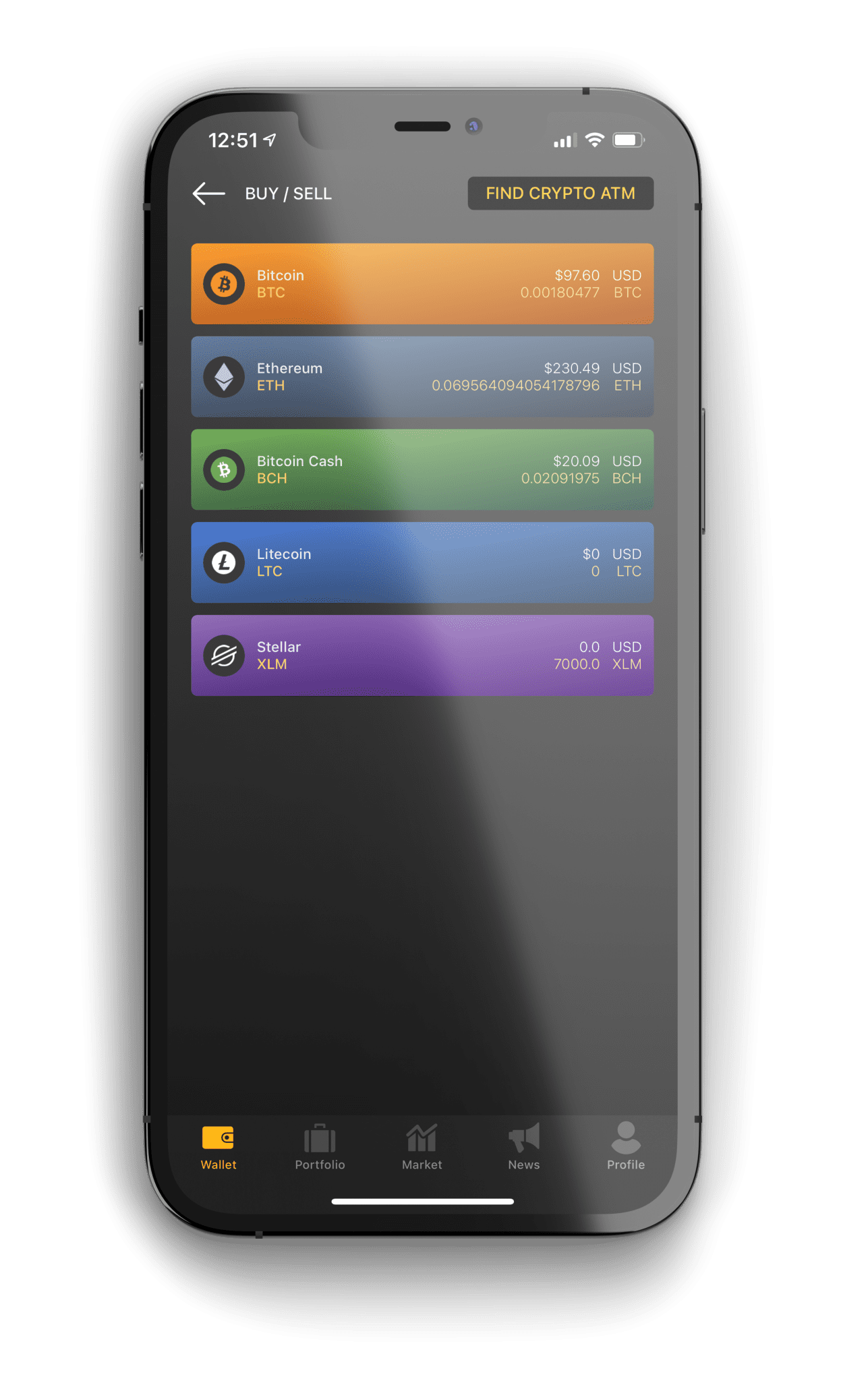 image of Monarch wallet showing the buy & sell wallet screen
