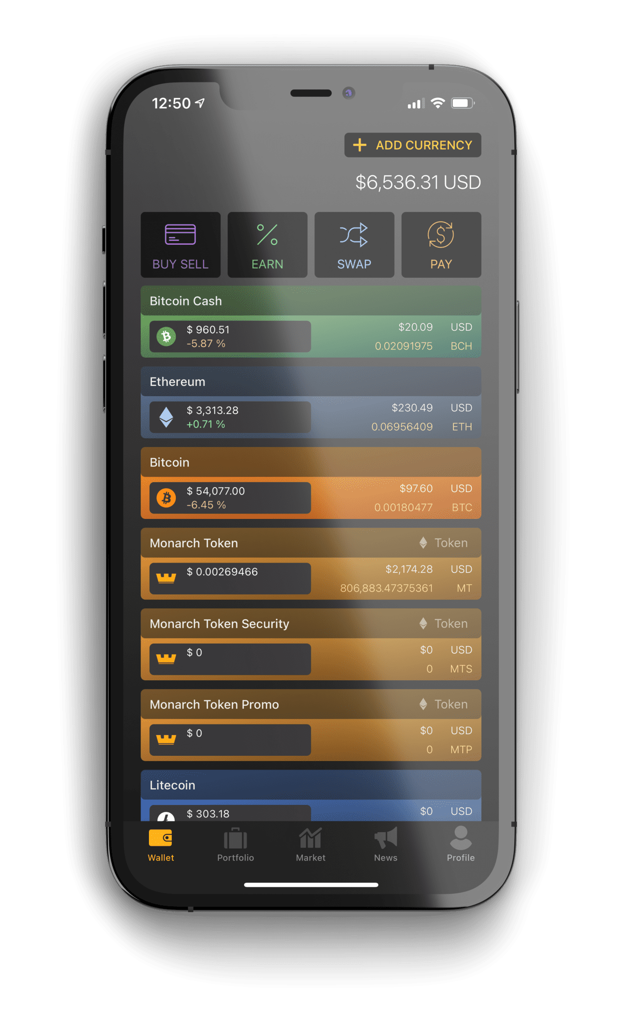 image of Monarch wallet showing the home wallet screen