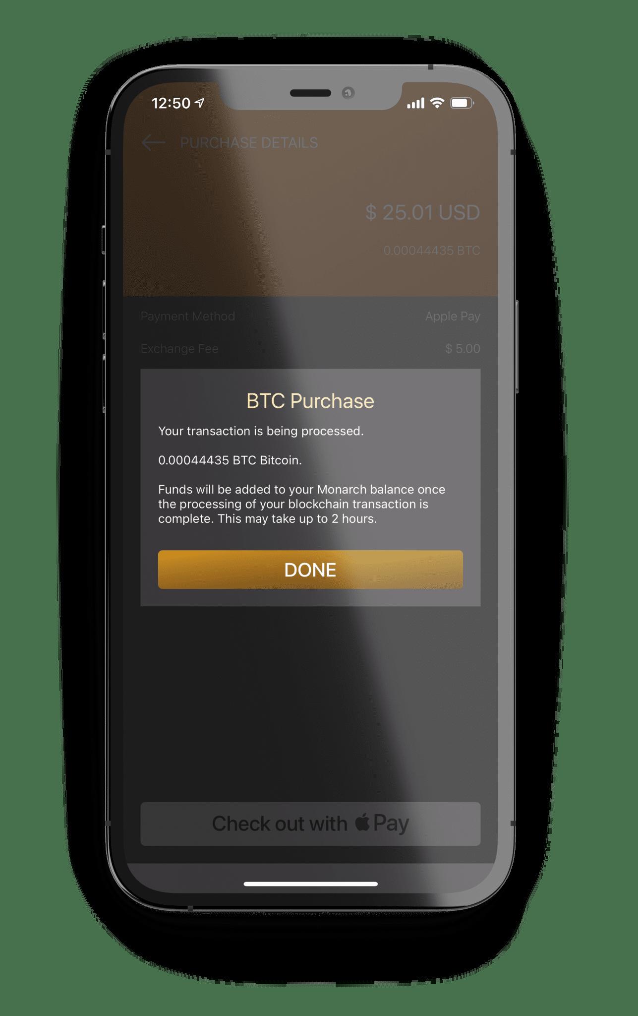 Monarch Wallet Final BTC Purchase Confirmation